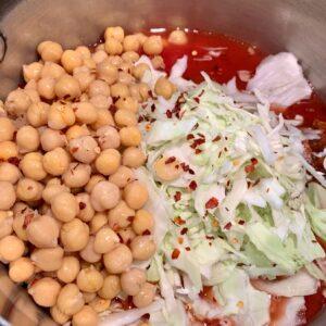 adding chickpeas
